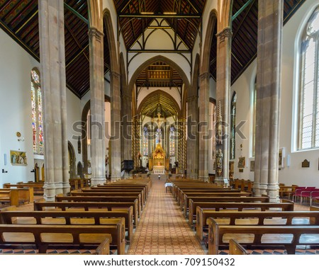 England, Birmingham - Sep 04, 2017: St Chads Cathedral Indoor Nave