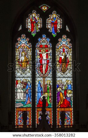 ENGLAND, BRISTOL - 10 AUG 2015: Holy Trinity Church, Westbury on Trym - Stained Glass