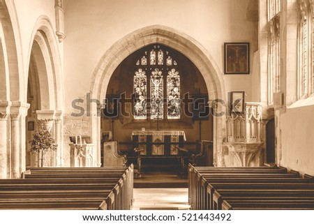 England, Chedworth - October 21, 2016: St Andrews Church Nave B HDR Sepia Tone