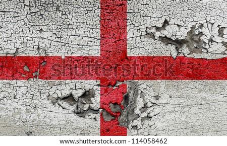 England cracked grunge flag - stock photo