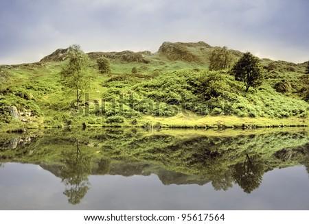 england cumbria lake district national park far sawrey near where beatrix potter lived -  tarn (reservoir)  claife heights - stock photo