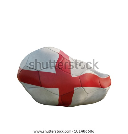 england deflated soccer ball isolated on white - stock photo