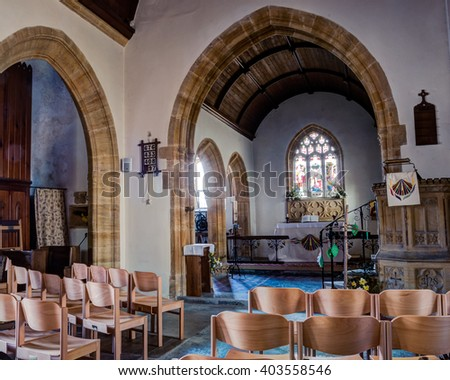 England, Dorset - 02 April 2016: The Church of Saint James the Great Longburton Nave A HDR photography, England