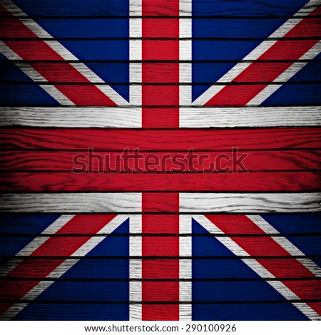 england flag on wood plank background - stock photo