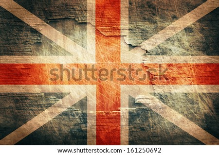 England flag painted on old wooden background - stock photo