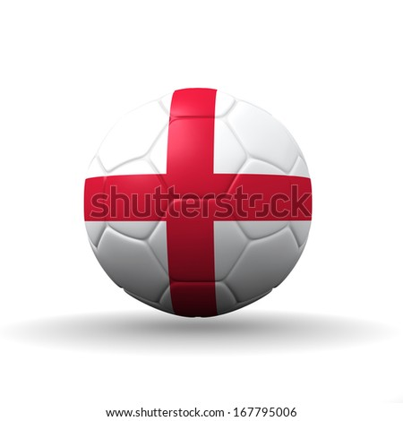 England flag textured on soccer ball , clipping path included - stock photo