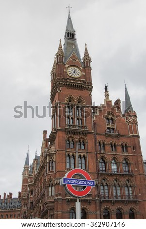ENGLAND LONDON - SEPTEMBER 2015: St Pancras Railway Station historical building in London, 2015 - stock photo