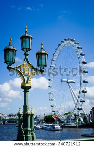 England London . 2015 Year september 22 . England London streets ,building bridge ,bus and river