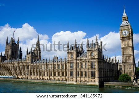 England London 2015 Year september 22 London street, london buildings ,london landscape Big ben and parlament