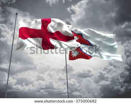 England & Nepal Flags are waving in the sky with dark clouds - stock photo