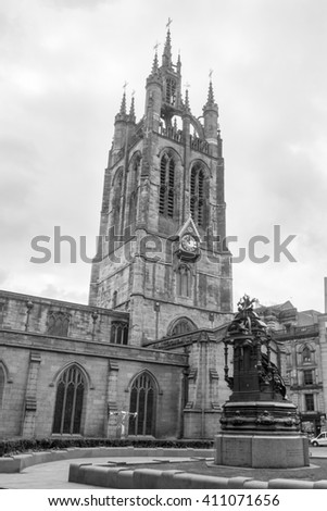 England, Newcastle - 24 April 2016: Newcastle Cathedral, Cathedral Church of St Nicholas Black and white photography