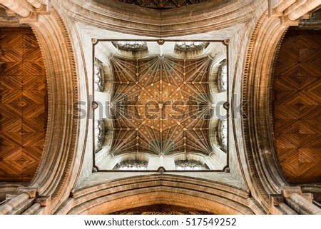 England, Peterborough - May 25, 2016: Peterborough Cathedral The Crossing Tower Ceiling A