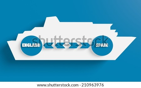 England spain ferry boat route info in icons - stock photo