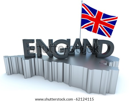 England Tribute/Digitally rendered scene with flag and typography - stock photo