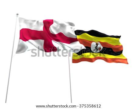 England & Uganda Flags are waving on the isolated white background - stock photo
