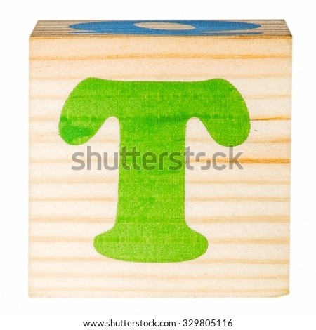 English alphabet, the letter T isolated on a white background - stock photo