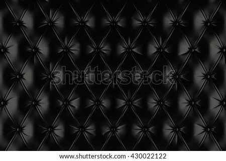 English black genuine leather upholstery, chesterfield style background. 3D rendering - stock photo