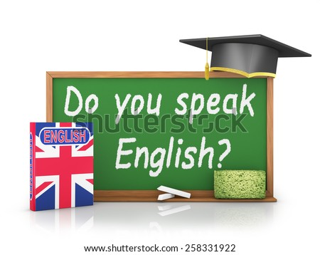 English book with a flag and a chalk board on which is written -  Do you speak English? - stock photo