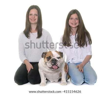 english bulldog and girls in front of white background