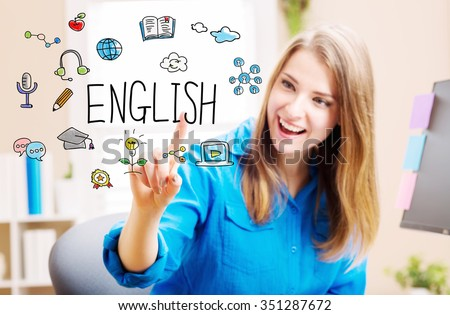 English concept with young woman in her home office - stock photo