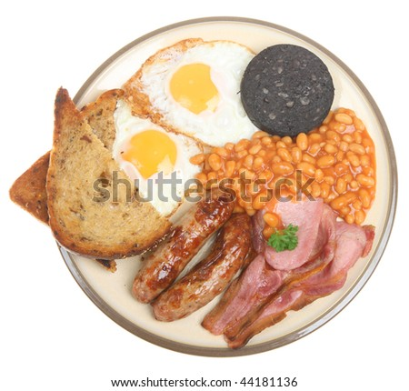 English cooked breakfast with black pudding, fried bread and baked beans.