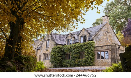 English Cotswolds Stone House - stock photo