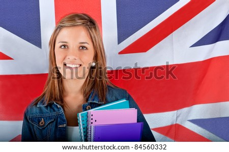 English female student with the British flag at the background - stock photo