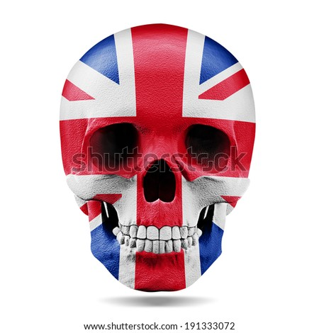 English flag human skull  3d  and white background - stock photo