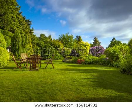 English Garden in late summer - stock photo