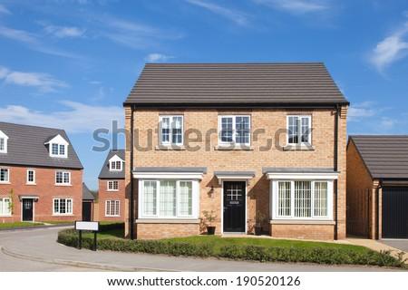 English housing estate view - stock photo