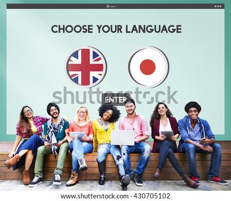 English Japanese Language Communication Concept - stock photo
