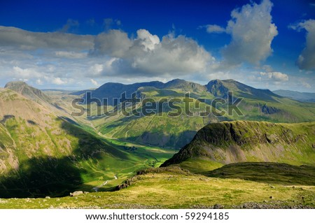 English Lake District mountains in summer. The view from Red Pike over the Mosedale Valley towards Yewbarrow, Great Gable, Kirk Fell and the Scafell Range