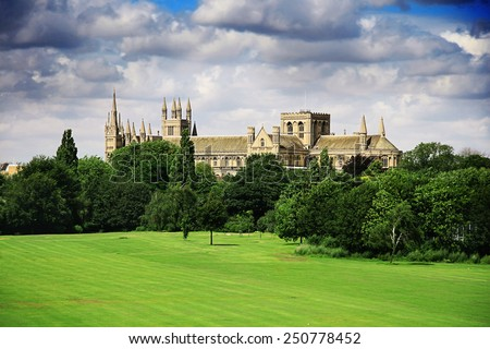 English landscape with catherdral and park - the Cathedral Church of St Peter St Paul and St Andrew
