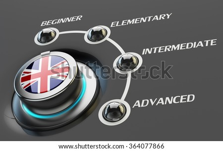 English language courses, learning and education concept, switch knob button with UK national flag and skill levels of proficiency - stock photo