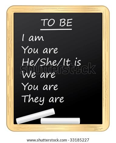 English lesson on a blackboard - stock photo