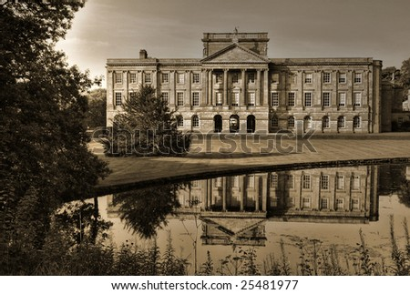 English manor house, site for the BBC's filming of Jane Austen's Pride and Prejudice - stock photo