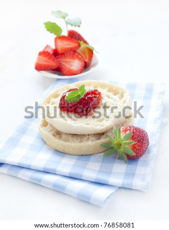 english muffins with fresh jam - stock photo