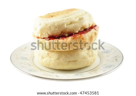 english muffins with jelly - stock photo