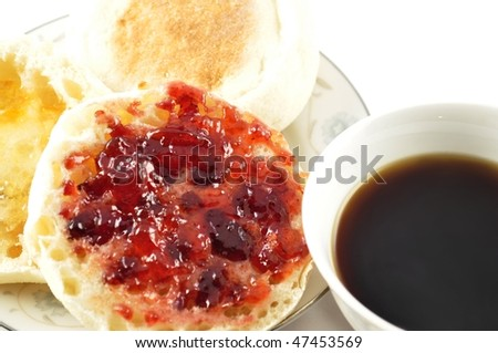 english muffins with jelly and coffee - stock photo