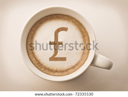 english pound sterling drawing on latte art coffee cup