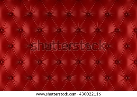 English red genuine leather upholstery, chesterfield style background. 3D rendering - stock photo