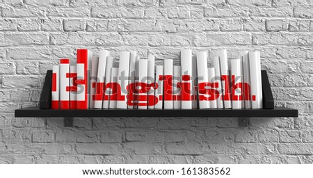 English - Red Inscription on the Books on Shelf on the White Brick Wall Background. Education Concept. - stock photo