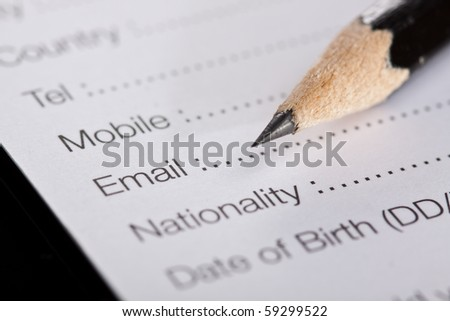 English registration form, reception, hotel, tourism - stock photo