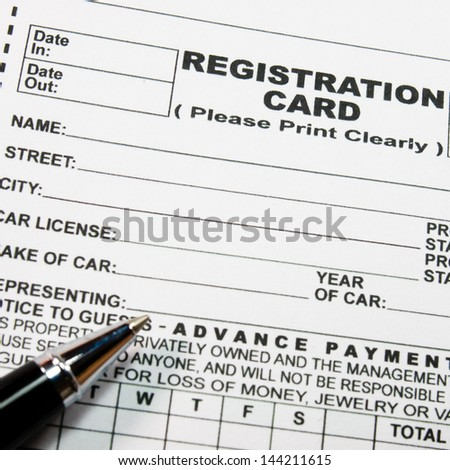 English registration form reception hotel tourismrent stock photo english registration form reception hotel tourismrent a car thecheapjerseys Gallery