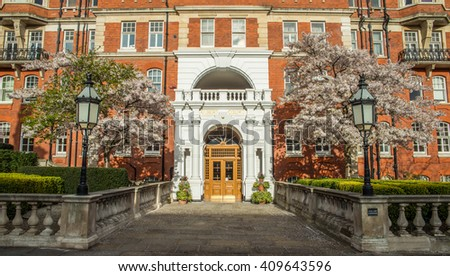 English style houses in London - stock photo
