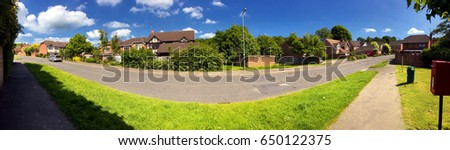 English suburbs; view of typical english suburban housing; panorama