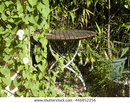 English summer garden with old table against an overgrown garden shed