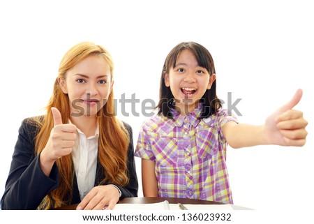 English teacher with student - stock photo