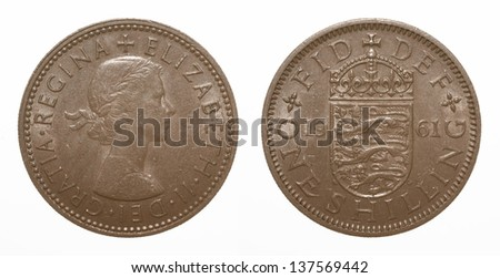 English three lions passant coat of arms 1961 Elizabeth II One Shilling Coin - stock photo