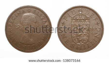 English three lions passant coat of arms 1959 Elizabeth II One Shilling Coin - stock photo